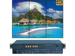 Video Wall Controller 4K 3840x2160@60Hz HDMI 2.0, HDMI 1.4, DP1.2 Inputs with 9 HDMI Outputs for TV Splicing, Support 3x3,3x2,2x3,5x1,6x1,1x6 Display and 180 Degree Rotate