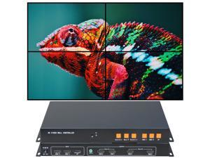 Video Wall Controller 4K 3840x2160@60Hz HDMI 2.0, HDMI 1.4 DP1.2 Inputs with HDMI Outputs for 4 TV Splicing, Support 2x2,2x1,1x2,1x3,1x4 Display and 180 Degree Rotate