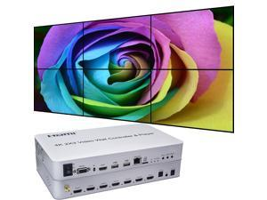 Video Wall Controller & Player 2x3 4K 3840x2160@30Hz Processor HDMI 1.4 HDCP 1.4 Support 1x2,2x1,2x2,2x3 with 1 HDMI Input 6 HDMI Output