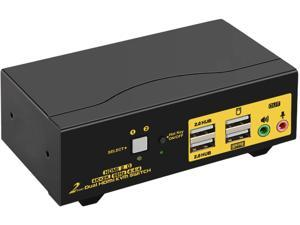 HDMI KVM Switch 2 Port Dual Monitor 4K 60Hz, 2x2 PC Monitor Keyboard Mouse Selector with Audio and 2 USB 2.0 HUB