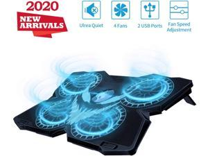 """Laptop Cooling Pad, Gaming Laptop Cooler Stand with 4 Silent Big Fans for Notebook, Stable Cooling Pad for Laptop, 2 USB Powered Fan Compatible up to 17"""", Control Fan Speed for PC, 2020 New Version"""