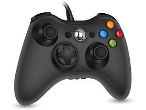 360 PC Game Wired Controller for Microsoft Xbox 360 and Windows PC (Windows 10/8.1/8/7) with Dual Vibration and Ergonomic Wired Game Controller (Black 1)
