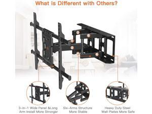 TV Wall Mount Bracket Dual Articulating Arms Swivels Tilts Rotation for Most 37-75 Inch LED, LCD, OLED Flat&Curved TVs, Holds up to 132lbs, Max VESA 600x400mm