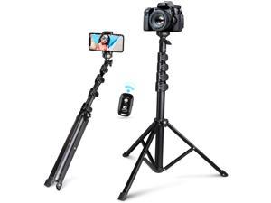"""62"""" Selfie Stick Tripod, Integrated,  Portable Phone Tripod with Phone Holder, Bluetooth Remote for iOS & Android, Tripod Stand Perfect for Camera & GoPro with 360°Tripod Head and GoPro Adapter"""
