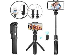 Selfie Stick Tripod with Extendable Wireless Bluetooth Remote [Compact All in One Tripod Selfie Stick] Portable and Light Weight Home Travel Photography