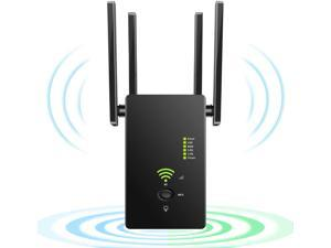 WiFi Extender Wireless Signal Booster, 1200Mbps WiFi Repeater Dual Band 2.4G and 5G with 4 Advanced Antennas, Long Range up to 2500 FT WiFi Range Extender Internet Amplifier(Black)