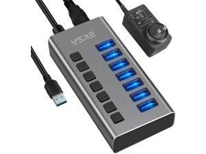 Powered USB Hub 7 Ports 36W USB 3.0 Data Hub - with Individual On/Off Switches and 12V/3A Power Adapter USB Hub 3.0 Splitter for Laptop, PC, Computer, Mobile HDD, Flash Drive and More