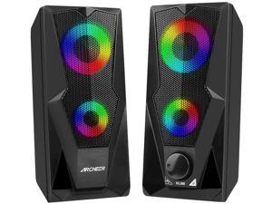 Computer Speakers 10W RGB Gaming PC Speaker with Enhanced Stereo Colorful LED Light, Dual-Channel Multimedia USB Powered Gaming Speakers for PC Desktop Laptop Tablet Smartphones.