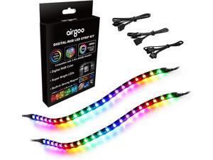 Addressable PC RGB LED Strip, Magnetic Rainbow PC Case Lighting, 2PCS Strips 42LEDs for 5V 3-pin ARGB LED headers, for ASUS Aura SYNC, Gigabyte RGB Fusion, MSI Mystic Light Sync Motherboard