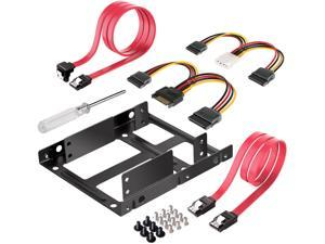SSD Mounting Bracket 2.5 to 3.5 with SATA Cable and Power Splitter Cable,