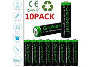 10 Pack Garberiel 18650 Battery 3.7V 3000mAh Rechargeable Batteries For Flashlight Headlamp etc.