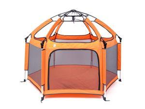 Pop 'N Go Portable Playpen - Lightweight, Folding, Easily Collapsible Playard Crib for Indoor & Outdoor Play - Perfect Canopy Play Pen for Any Baby Toddler or Small Child (Orange)