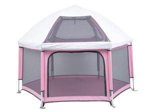 Pop 'N Go Portable Playpen - Lightweight, Folding, Easily Collapsible Playard Crib for Indoor & Outdoor Play - Perfect Canopy Play Pen for Any Baby Toddler or Small Child (Pink)
