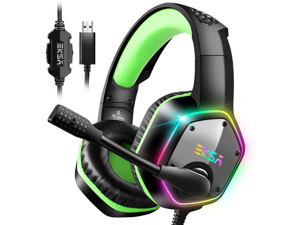 EKSA 7.1 Channel Stereo Sound PUBG Head-mounted USB Gaming Headset LED Light Effect Wired Headphones 120° Free Rotation Desktop Computer Game Headset