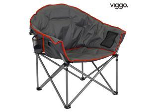 Viggo-Folding Camping Chair, Brazil chair, Oversized Padded Moon Round Saucer Chairs Outdoor for Camp Lawn Hiking Fishing Grey