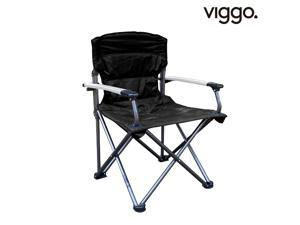 Viggo-Lightweight Portable Outdoor Folding Camping Quad Chair with Hard Armrest-Support Capacity for Travel, Hiking, Fishing, BBQ Black