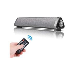 Bluetooth Sound Bar Wired and Wireless Home Theater TV Triangle Speaker Bar with Remote Control TF Card Surround SoundBar for TV / PC / Phones /Tablets - 2 X 5W Compact Sound Bar 2.0 Channel