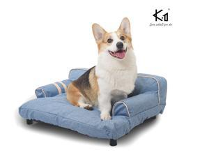 Dual-use Pet Sofa with Built-in Elevated Platform Base, Machine Wash & Dryer Friendly, Removable Cloth Cover - Multiple Colors