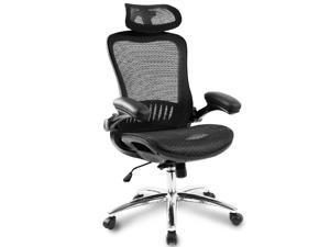Ergonomic Backrest and Armrest's Mesh Chair Adjustable Headrests Chair Home Desk Office Chair Modern Design Reclining Chair(Black)