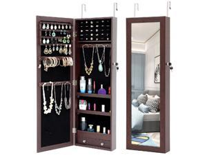 Fashion Simple Lockable Full Mirror Full Screen Jewelry Organizer Wall Mounted/Door Mounted/Jewelry Cabinet Jewelry Armoire with Mirror/Full Length Mirror Hanging Mirror