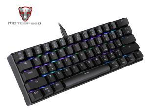MOTOSPEED CK61 60% Mechanical Keyboard Portable 61 Keys RGB LED Backlit Type-C USB Wired Office/Gaming Keyboard for Mac, Android, Windows(Outemu Blue Switch)