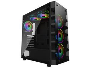 SP002 ATX Mid-Tower Chassis PC Gaming Case , Tempered Glass Side Panel, Water-Cooling Ready, Top Dust Filter Computer Case Desktop Case USB 3.0 Ports 7 Expansion Slots without Case Fan