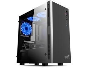 Compact ATX Mid-Tower PC Gaming Case Computer Case Chassis- Front I/O USB 2.0 Port - Transparent Acrylic Side Panel - Cable Management System - Water-Cooling Ready