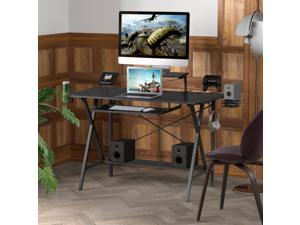 """47"""" Gaming Desk Table, E-Sports Computer Desk with PC Stand Shelf Keyboard stand Power Strip with USB Cup Holder & Headphone Hook Home Office Desk Gamer Desk Writing Table, Carbon Fiber Coated Black"""