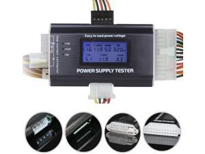20/24 4/6/8 Pin LCD Computer Power Supply Tester for SATA IDE HDD ATX ITX BYI Connectors-Black