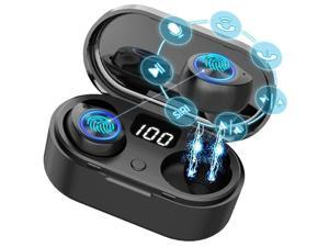 Wireless Earbuds, Wireless Headphones with HD HiFi Stereo CVC8.0 Noise Canceling Bluetooth 5.0 Earphone with Mic 3-5H Playtime LED Display 400mAh Charging Case for iPhone Android Sports Business