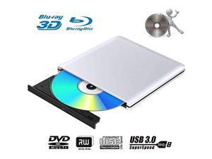 External Blu Ray DVD Drive Burner 3D Portable USB 3.0 CD DVD RW Player for Mac OS, Linux, Windows XP/Vista/7/8/10,PC (Silver)