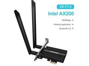 AX200 Wifi 6 Card 160Mhz for PC| Bluetooth 5.0| Pcie Wifi Card| 3000 Mbps Dual Band (2.4/5.8Ghz)| MU-MIMO Tech for Gaming, Streaming Etc, Only Support Windows 10