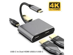 USB C Type C to Dual HDMI USB 3.0 Type-C PD Converter 4 in 1 USB C Dock Station Hub 4K Hdmi Adapter Cable for Phone Macbook Laptop TV Monitor (Gray)