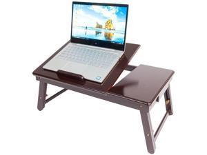 Retro Plain Design Adjustable Bamboo Lap Desk Tray Dark Coffee