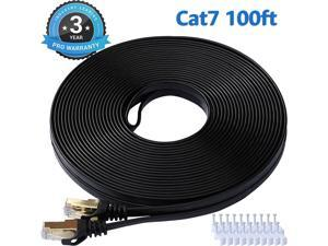 Cat 7 Ethernet Cable 100 ft LAN Cable Internet Network Cord for PS4, Xbox, Router, Modem, Gaming, Black Flat Shielded 10 Gigabit RJ45 High Speed Computer Patch Wire.