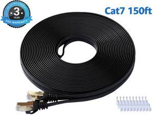 Cat 7 Ethernet Cable 150 ft LAN Cable Internet Network Cord for PS4, Xbox, Router, Modem, Gaming, Black Flat Shielded 10 Gigabit RJ45 High Speed Computer Patch Wire.