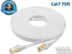 Cat 7 Ethernet Cable 75 ft LAN Cable Internet Network Cord for PS4, Xbox, Router, Modem, Gaming, White Flat Shielded 10 Gigabit RJ45 High Speed Computer Patch Wire.