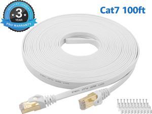 Cat 7 Ethernet Cable 100 ft LAN Cable Internet Network Cord for PS4, Xbox, Router, Modem, Gaming, White Flat Shielded 10 Gigabit RJ45 High Speed Computer Patch Wire.