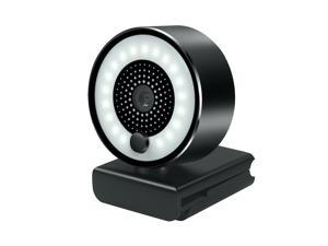 Webcam for PC, 2K HD Web Camera with Microphone and Ring Light, Wide Angle Web Cameras for Skype, Streaming, Teleconference, Video Chat, with Cover and Stand