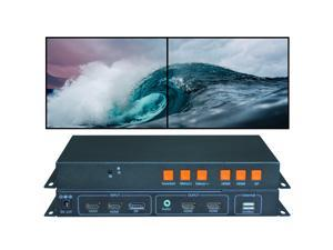 Video Wall Controller 4K 3840x2160@60Hz HDMI 2.0, HDMI 1.4, DP1.2 Inputs with HDMI Outputs for 2 TV Splicing, Support 1x2 Display and 180 Degree Rotate