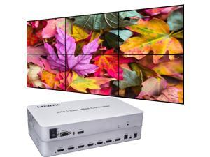 Video Wall Controller 2x3 4K 3840x2160@30Hz Processor HDMI 1.4 HDCP 1.4 Support 1x2,2x1,2x2,2x3 with 1 HDMI Input 6 HDMI Output
