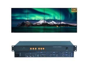 Video Wall Controller 4K 3840x2160@60Hz HDMI 2.0, HDMI 1.4, DP1.2 Inputs with 8 HDMI Outputs for TV Splicing, Support 4x2,4x1,2x3,2x4,1x8 Display and 180 Degree Rotate