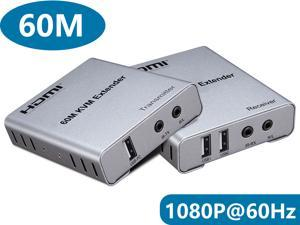 HDMI KVM Extender 1080P with Audio Over Single CAT6 Cable Up to 60m (196 feet) Support USB Keyboard Mouse and IR Control