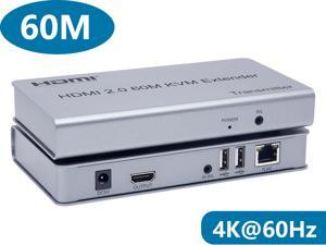 HDMI KVM USB Extender Over CAT6 Cable Up to 60m (196 feet) Support HDMI 2.0 with 4k@60Hz HDCP2.2 and IR Control