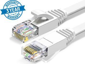 Cat 6 Ethernet Cable 100 ft White Long Internet Network Cable High Speed Flat LAN Cable RJ45 Cord for Gaming Switch Modem Router Coupler