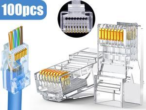 RJ45 Connector Cat6 Cat5 Terminals Gold Plated 8P8C Ethernet Pass Through Plug(100Pack)