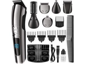 CUUWE Beard Trimmer, Cordless Hair Clippers Hair Trimmer for Men, Waterproof Body Mustache Nose Ear Facial Cutting Groomer, Electric Shaver All in 1 Grooming Kit, USB Rechargeable & LED Display