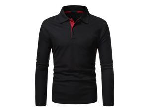 Men's Long Sleeve Golf Polo Shirt Quick Dry Stretchy Athletic Casual T-Shirt