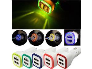 LED Dual USB Port 2.1A Fast Car Charger Adapter for iPhone iPad Samsung Galaxy