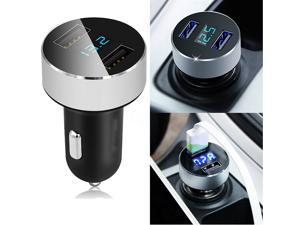 Square Car Charger USB Ports with LED Light Aluminum Dual USB Port Adapter for Car